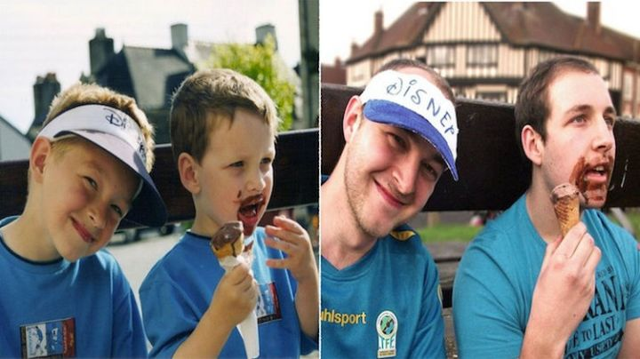 23 Then Now Photos - Two friends still enjoying ice cream together. Don't get any on your shirt!