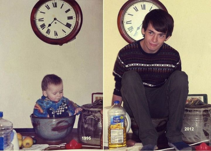 23 Then Now Photos - He still likes to help mom around the kitchen.