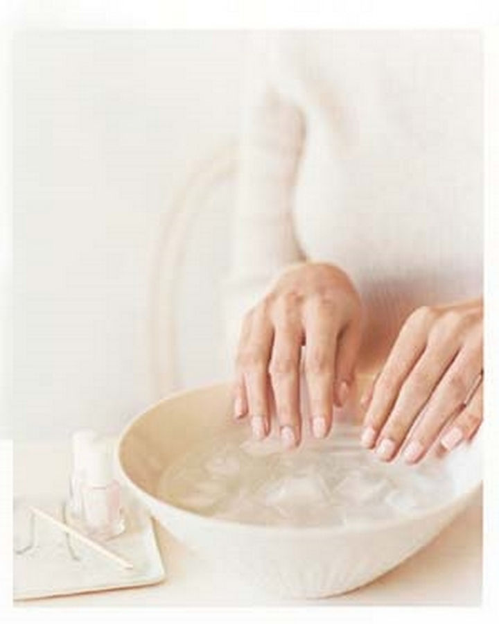13 Nail Hacks for Salon-Quality Manicures - Dry your nails fast by dunking your hands in cold water.
