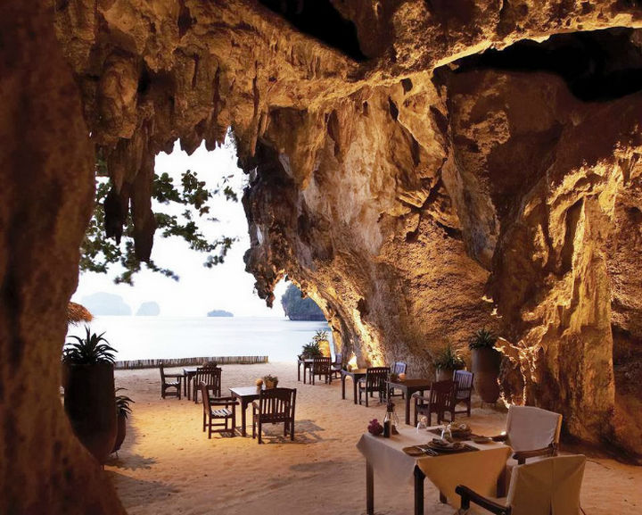 39 Amazing Restaurants With a View - The Grotto in Krabi, Thailand.
