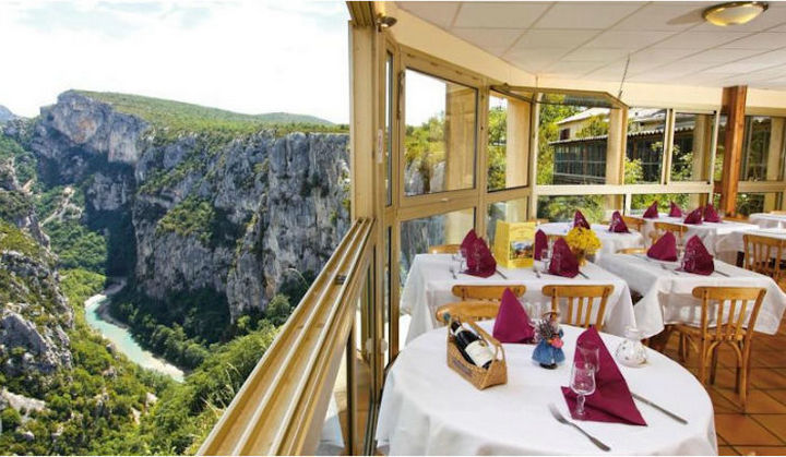 39 Amazing Restaurants With a View - Le Grand Canyon du Verdon in Aiguines, France.
