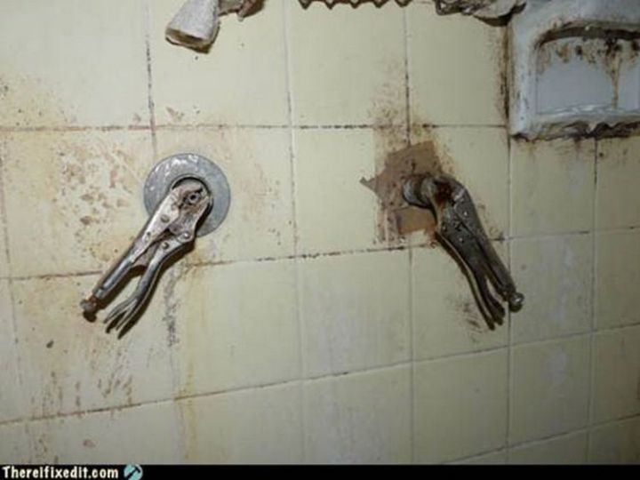 """20 Hilarious Ways Men Can Fix Anything - """"The shower is broken? I can fix that!"""""""