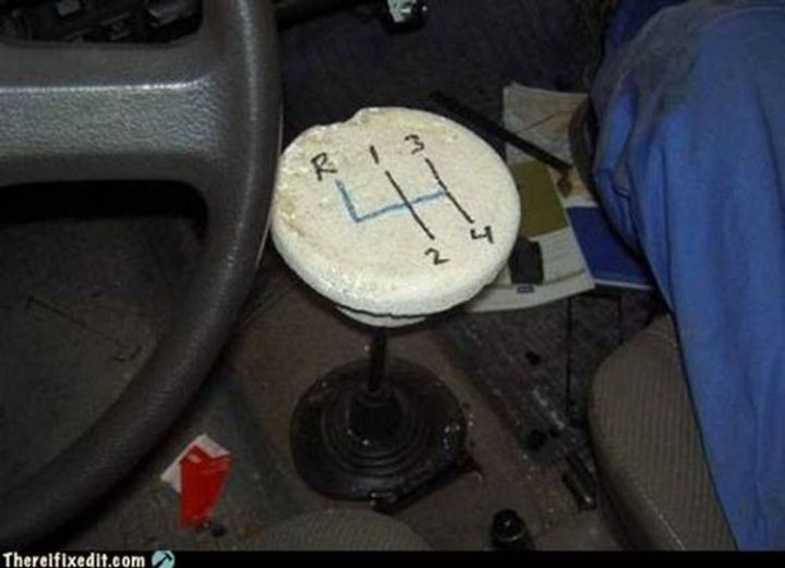 """20 Hilarious Ways Men Can Fix Anything - """"The shift knob on the car broke? I can fix that!"""""""