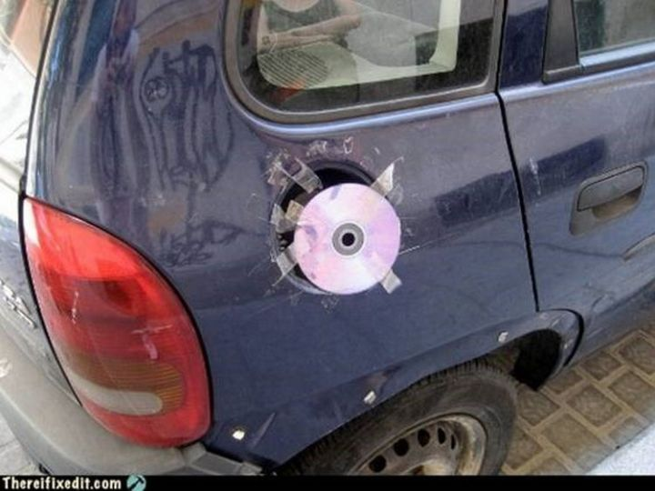 """20 Hilarious Ways Men Can Fix Anything - """"The fuel door cover broke off? I can fix that!"""""""