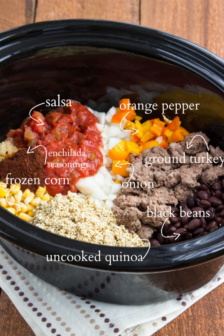 26 Crock Pot Dump Meals - Slow cookercheesy enchilada quinoa bake.