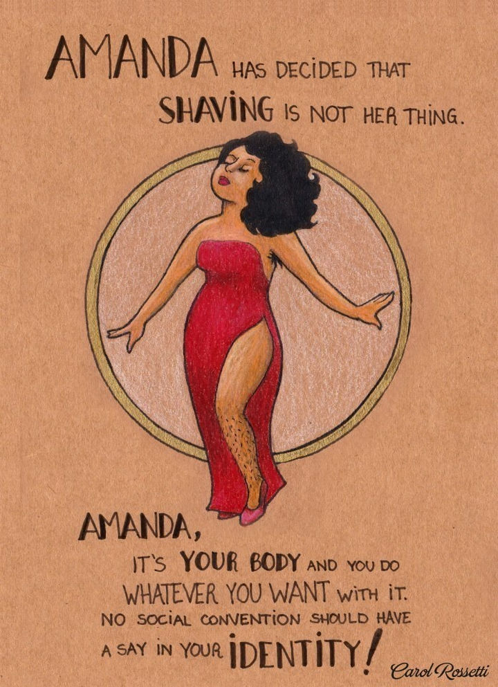 """Inspiring Drawings by Brazilian Artist Carol Rossetti - """"Amanda has decided that shaving is not her thing. Amanda, it's your body and you do whatever you want with it. No social convention should have a say in your identity!"""""""