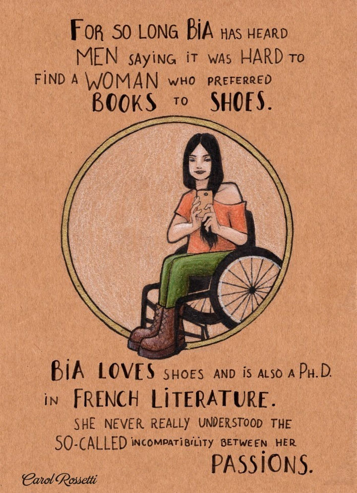 """Inspiring Drawings by Brazilian Artist Carol Rossetti - """"For so long Bia has heard men saying it was hard to find a woman who preferred books to shoes. Bia loves shoes and is also a Ph. D. in French literature. She never really understood the so-called incompatibility between her passions."""""""