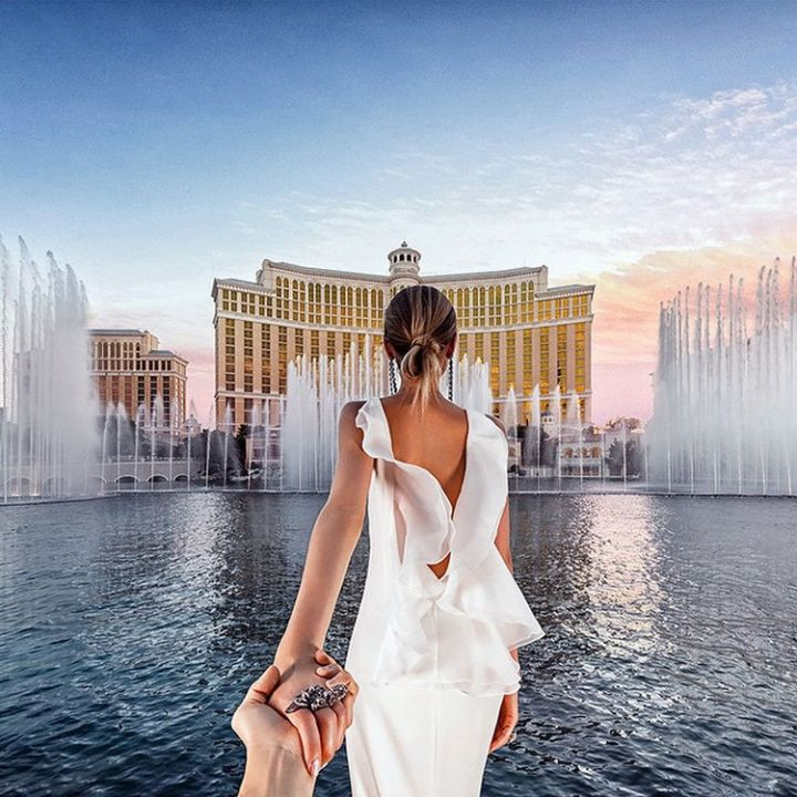 The couple visited Las Vegas for their honeymoon and took in famous sites like the Bellagio.
