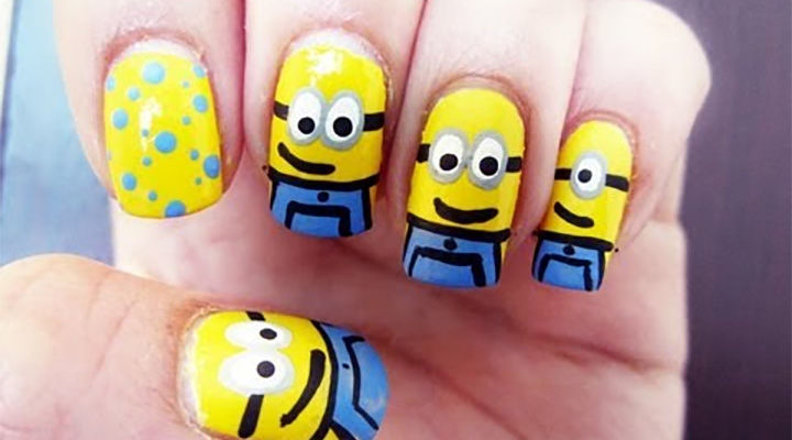 19 Minion Nails - Cute little minion nails that are fun and easy to create.