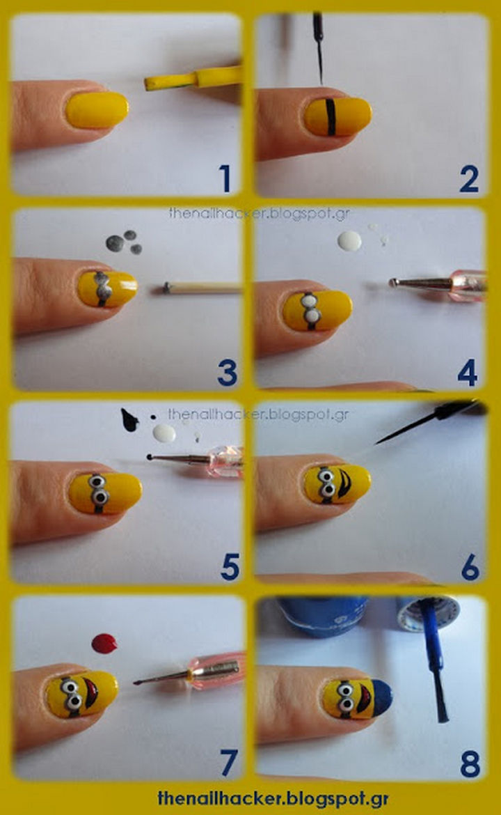 19 Minion Nails - Smiling minion nails.