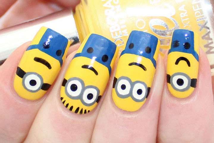 19 Minion Nails - Cute minion nails.