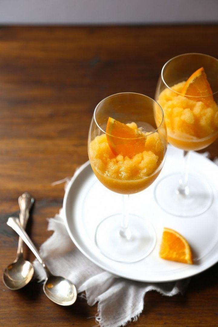 23 Wine Slushies - Orange peach mimosa slushies recipe.