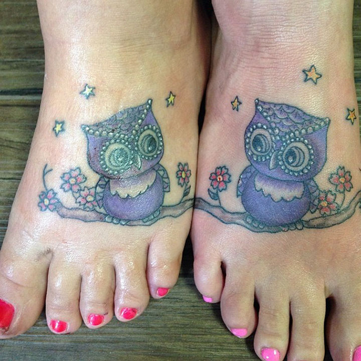 28 Sister Tattoos - Two sisters as wise as an owl.