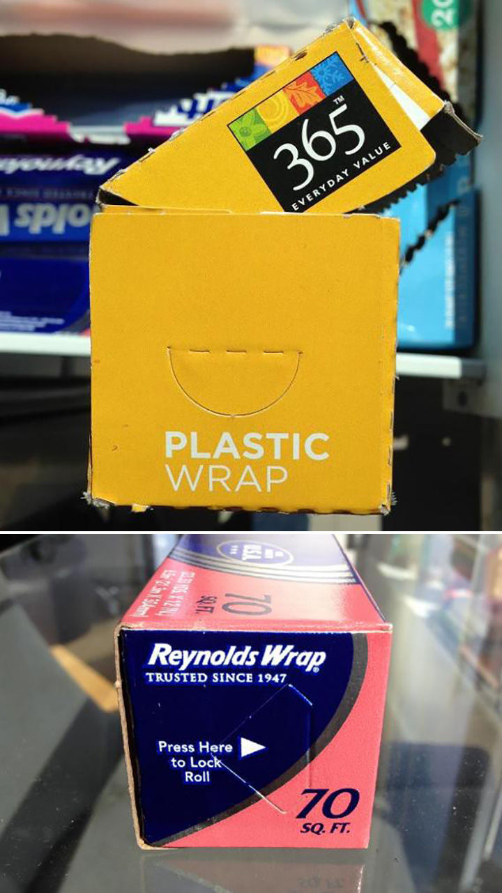 Things you've been doing wrong - Most wrap roll containers have tabs to lock the roll in place.