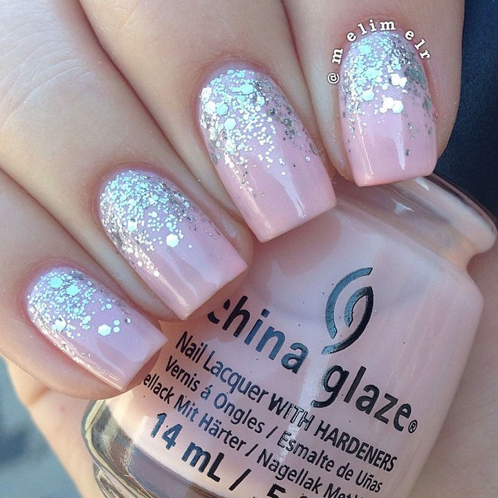 18 Reverse Gradient Nails - Pretty in pink with gorgeous glitter reverse gradient.