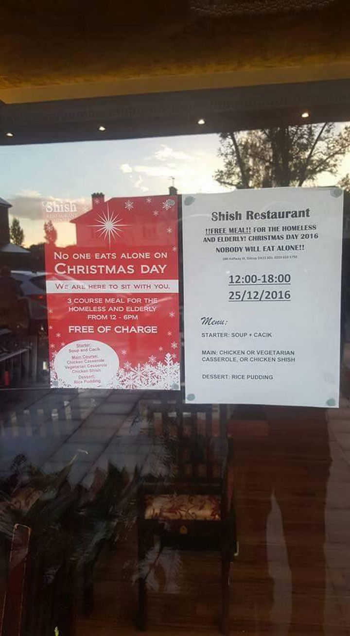 Formal announcements were created and the restaurant urged patrons to spread the word so that nobody eats alone on Christmas Day.