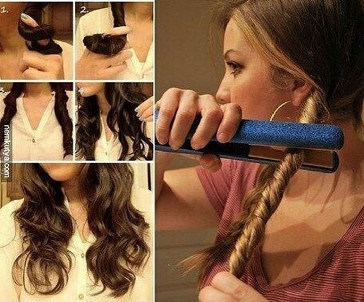 14 Lazy Girl Hair Hacks - Get beautiful, natural-looking waves by twirling your hair with your fingers and sliding a flat iron down each twirl.