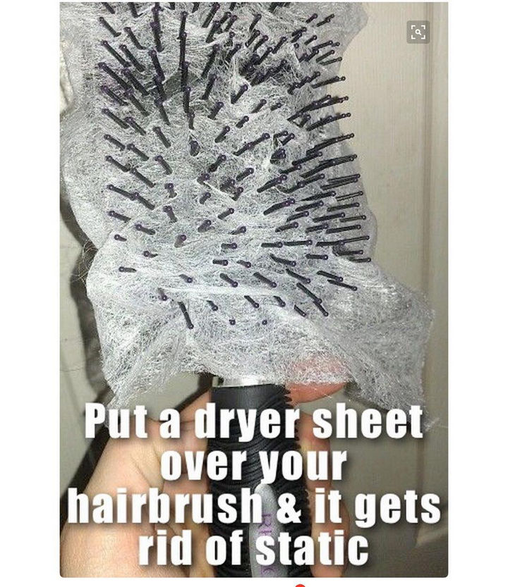 14 Lazy Girl Hair Hacks - The dryer sheet also keeps your brush clean!