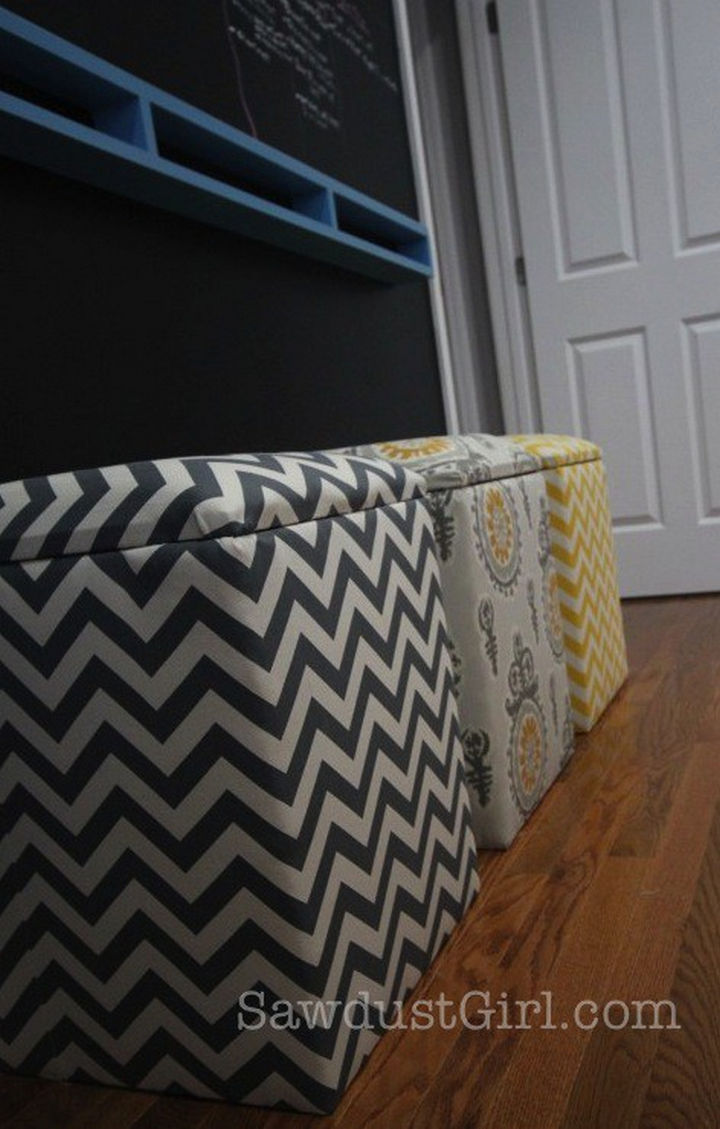 18 DIY Storage Ideas For Your Home - Instantly create more storage space with DIY upholstered storage benches.
