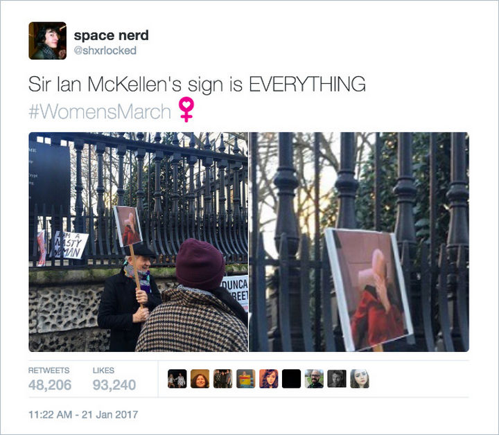 "20 Epic Women's March Signs - ""Sir Ian McKellen's sign is EVERYTHING."""