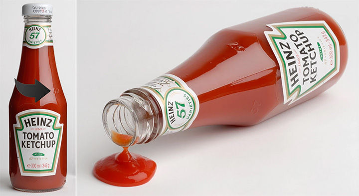 20 Everyday Life Hacks - To get ketchup to flow out easily, don't tap the bottom but tap the #57 right on the bottle instead!