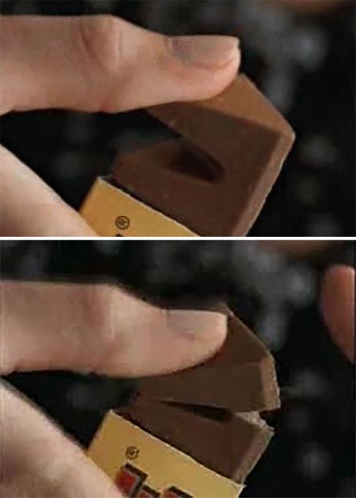 The easiest way to break off a piece of a Toblerone bar is to push on a piece towards the bar.