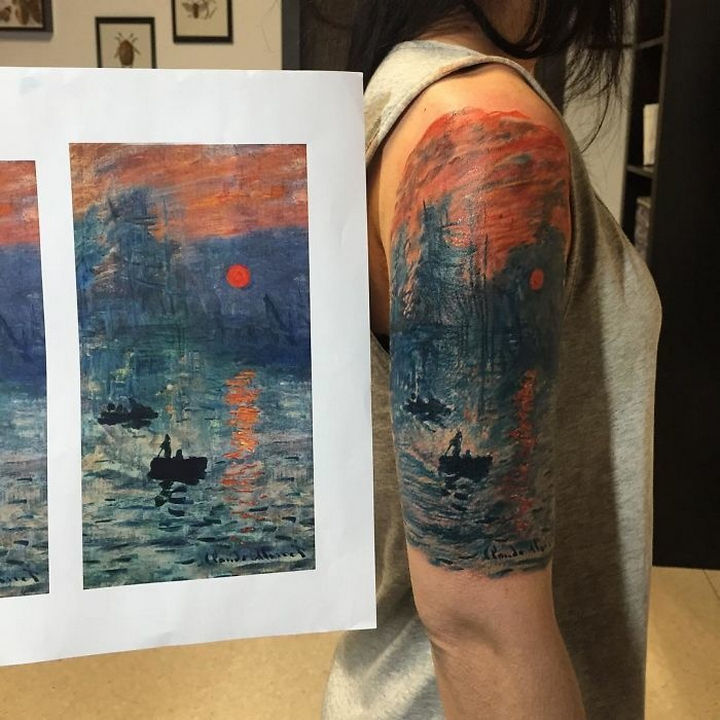 "22 Classical Art Tattoos - ""Impression, Sunrise"" by Claude Monet."