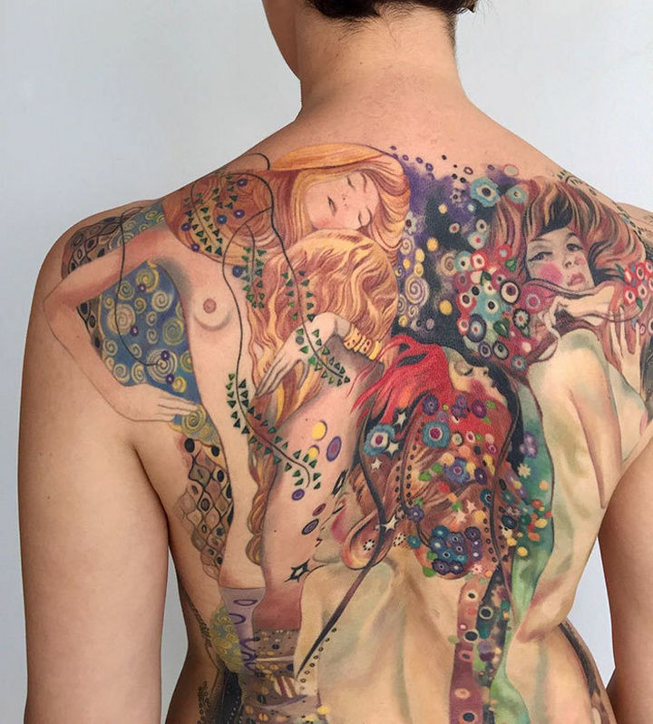 "22 Classical Art Tattoos - ""Water Serpents I"" and ""Water Serpents II"" by Gustav Klimt."