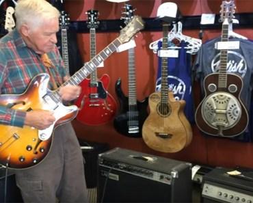 81-Year-Old Bob Wood Plays Guitar at British Audio Service in Nashville, TN.