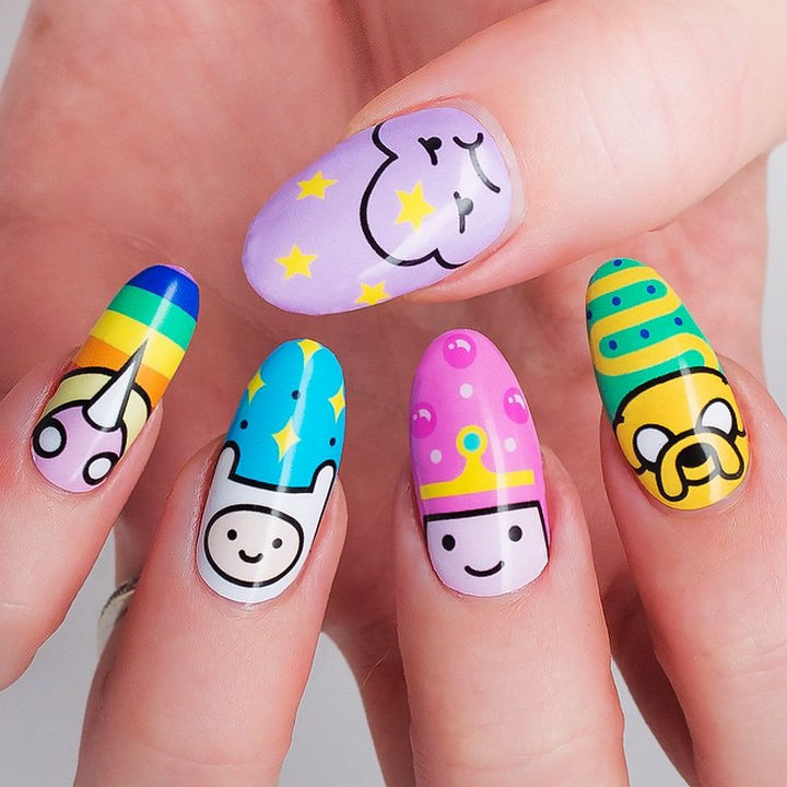 19 Cartoon Nail Art Designs - What time is it? Adventure Time!