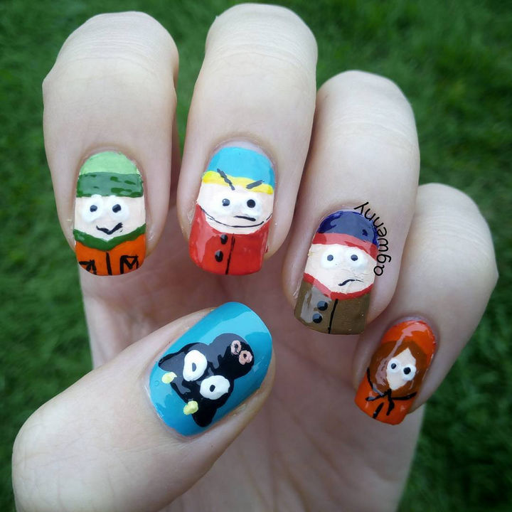 19 Cartoon Nails - South Park nails to proclaim your love for this long running series.
