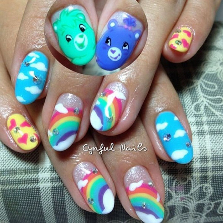 19 Cartoon Nails - Nothing makes you feel warm and fuzzy like Care Bears and rainbows!