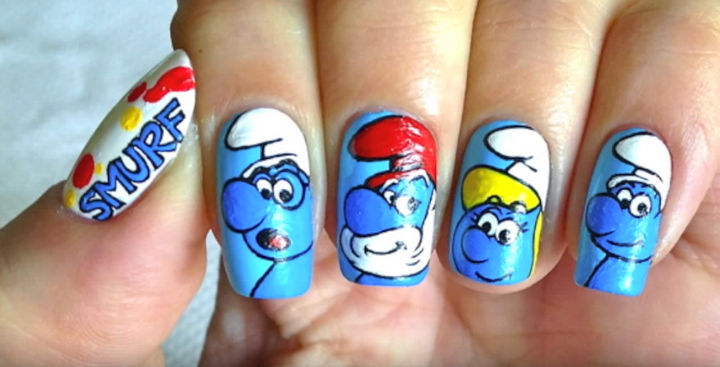19 Cartoon Nails - You'll be feeling smurfy with these nails inspired by The Smurfs!