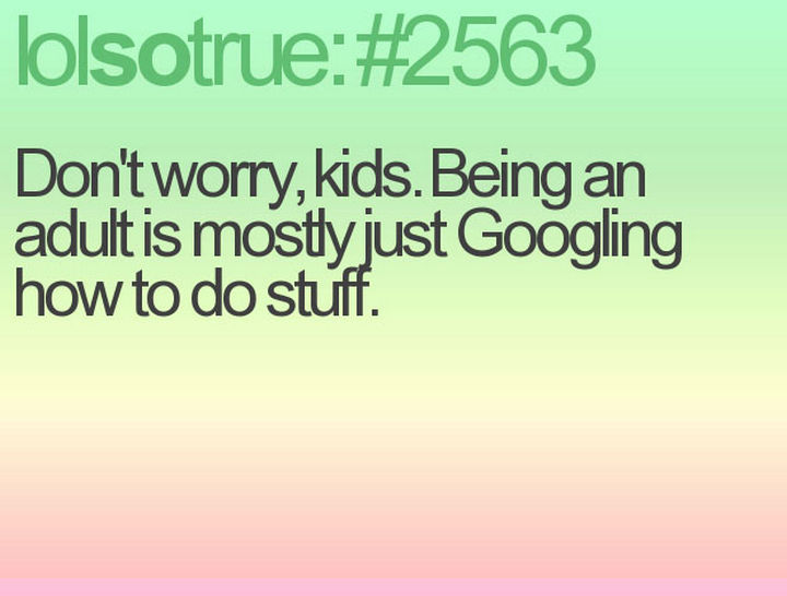 """23 Funny Adult Quotes - """"Don't worry, kids. Being an adult is mostly just Googling how to do stuff."""""""