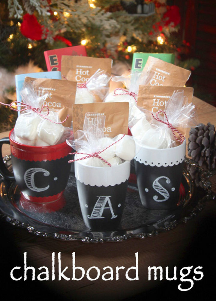 27 DIY Valentine's Day Crafts - Give DIY Chalkboard Painted Mugs.