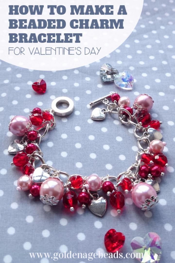 27 DIY Valentine's Day Crafts - Make a beaded charm bracelet.