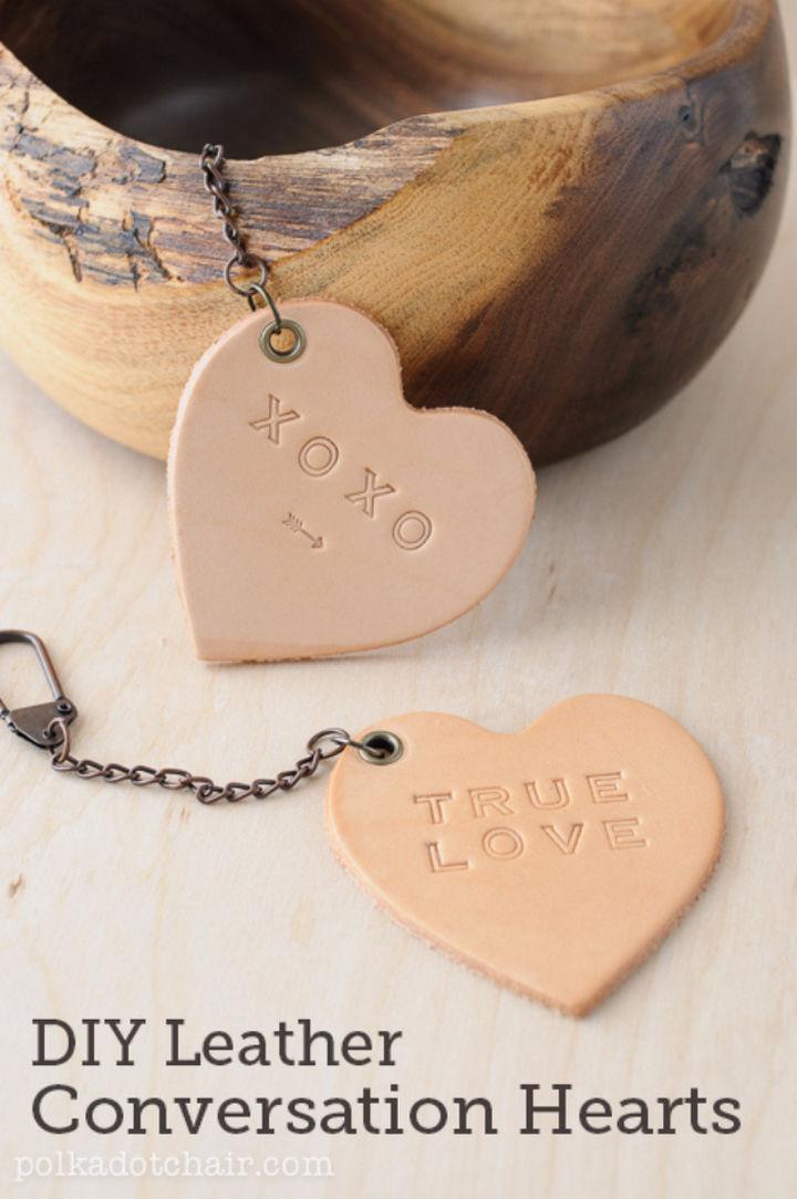 27 DIY Valentine's Day Crafts - Create DIY leather conversation hearts.
