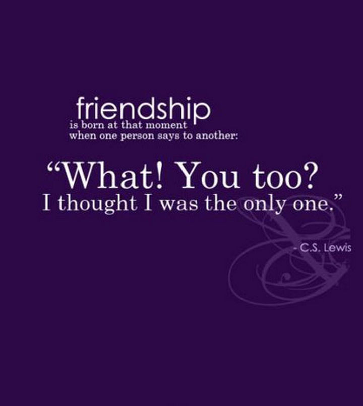 "75 Amazing Relationship Quotes - ""Friendship is born at that moment when one person says to another, 'What! You too? I thought I was the only one"" - C.S. Lewis"