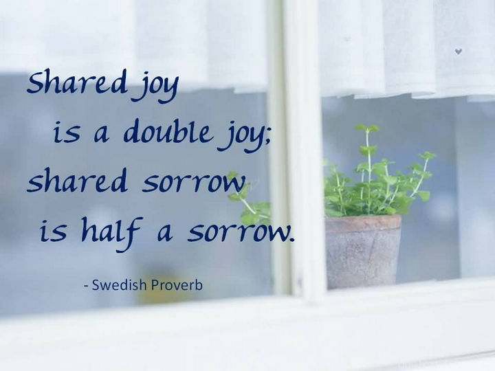 """Shared joy is a double joy; shared sorrow is half a sorrow."" - Swedish Proverb"