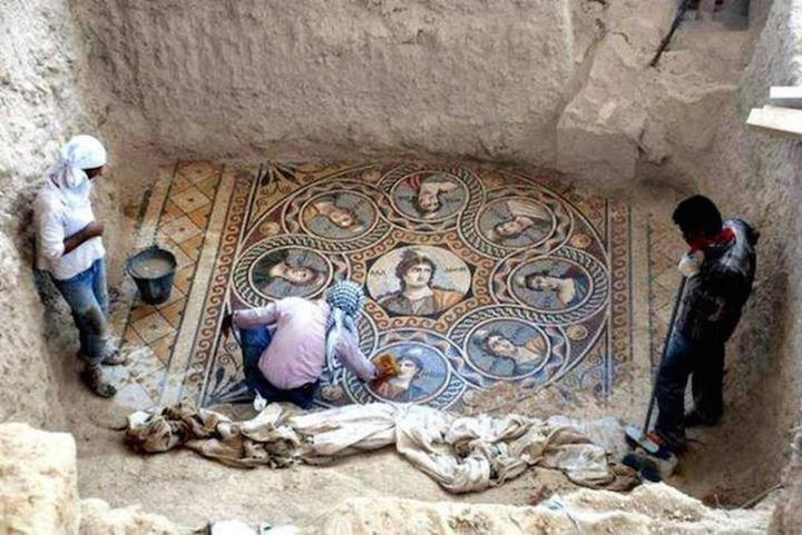 Archaeologists made an amazing discovery in the city of Zeugma, Turkey. They unearthed ancient Greek mosaics showing the nine Muses: Calliope, Clio, Erato, Euterpe, Melpomene, Ourania, Polymnia, Terpsichore, and Thalia.