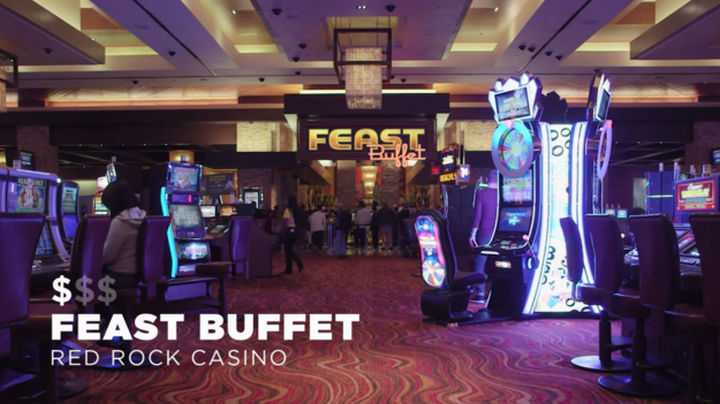 The first buffet on the list is the Feast Buffet in the Red Rock Casino. At an amazing price of $9 and only $7 for card members, it's a bargain. With over 150 items available for breakfast, it's pretty easy to find your favorites and more.