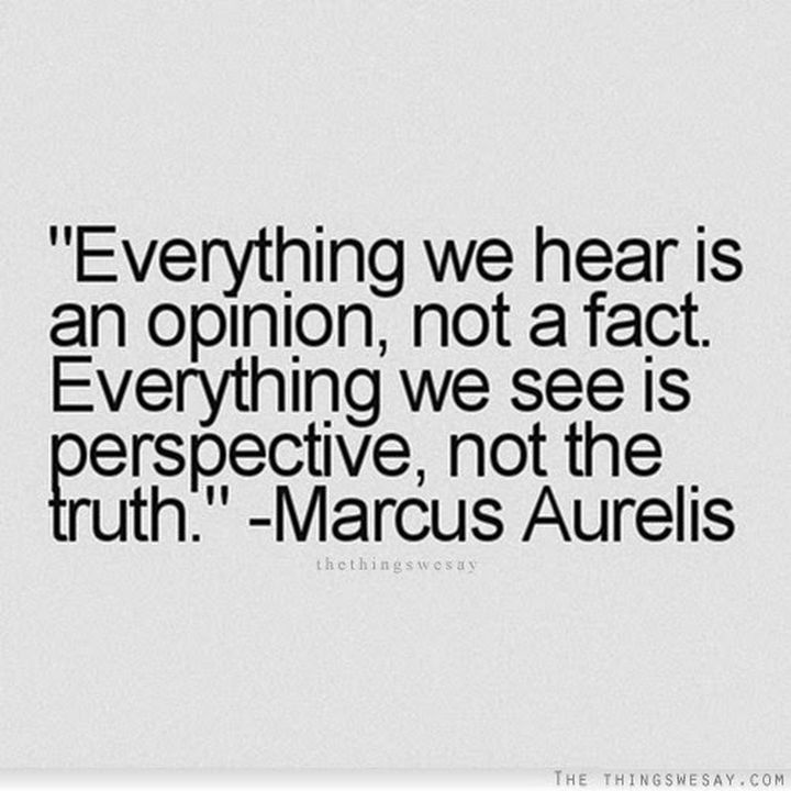 "41 Positive Quotes - ""Everything we hear is an opinion, not a fact. Everything we see is perspective, not the truth."""