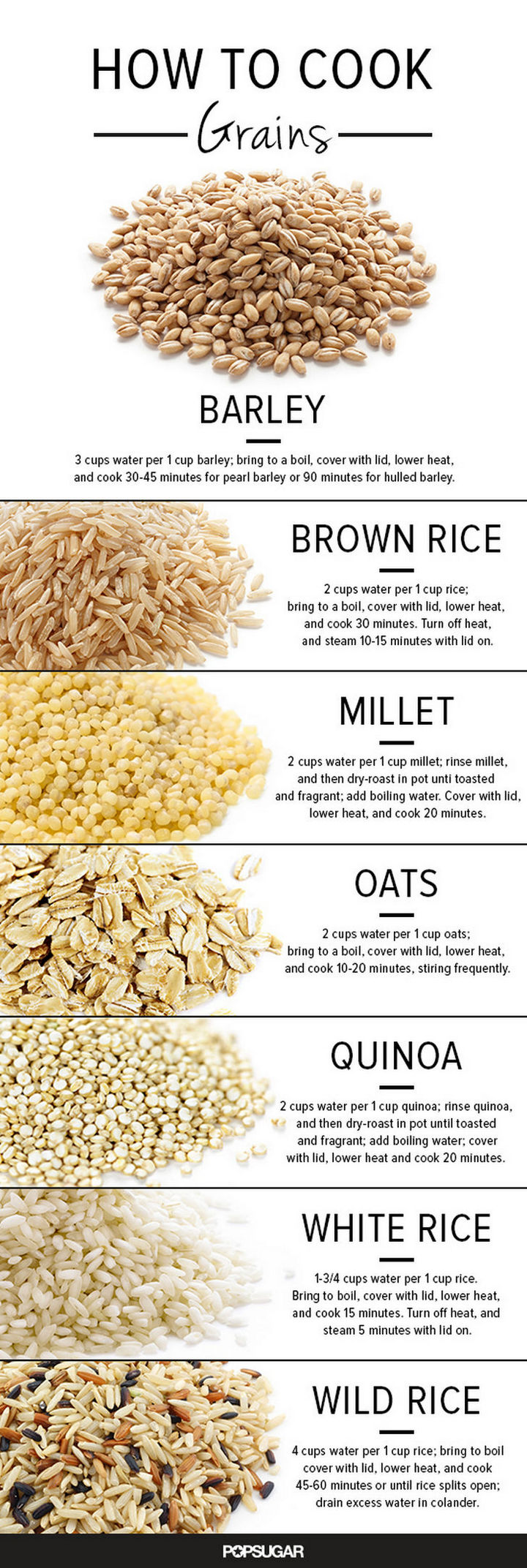 15 Kitchen Cheat Sheets - How to cook grains such as barley, brown rice, millet, oats, quinoa, white rice, and wild rice.