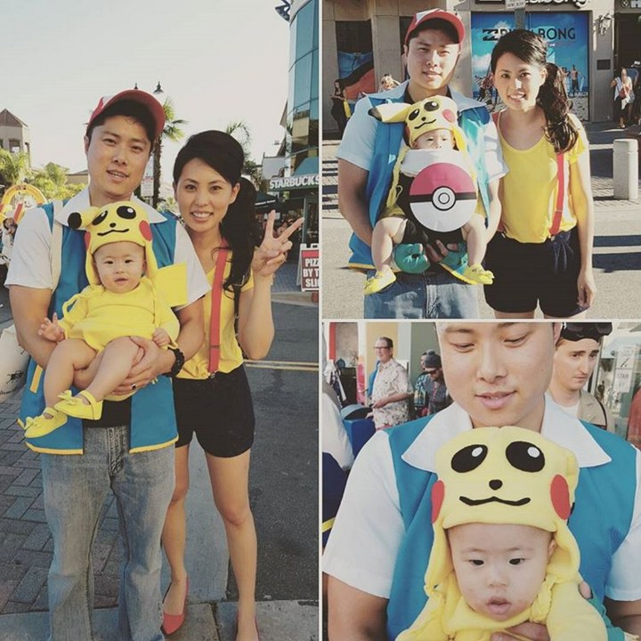 17 Funny Halloween Costumes for Babies - Pikachu costume and Pokémon Trainer costumes.