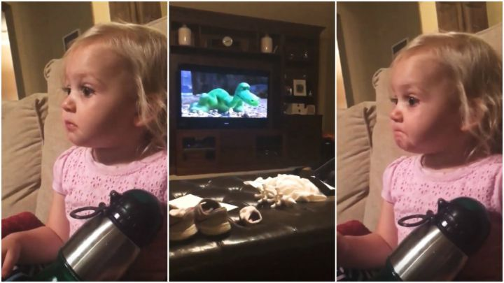 2-Year-Old Girl Gets Emotional While Watching 'The Good Dinosaur'.