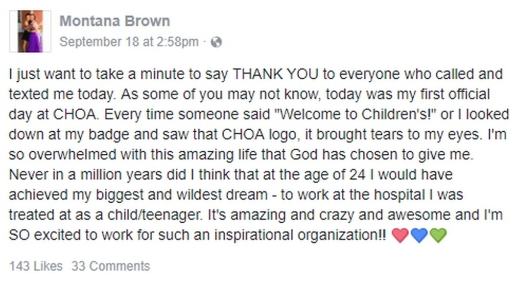 Montana Brown couldn't be happier and thankful to God and everyone in her life for helping her fulfill her dreams.