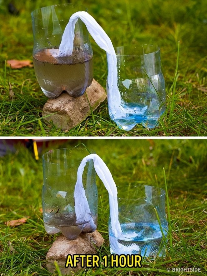 11 Wilderness Survival Tips - Filter dirty water using a t-shirt.