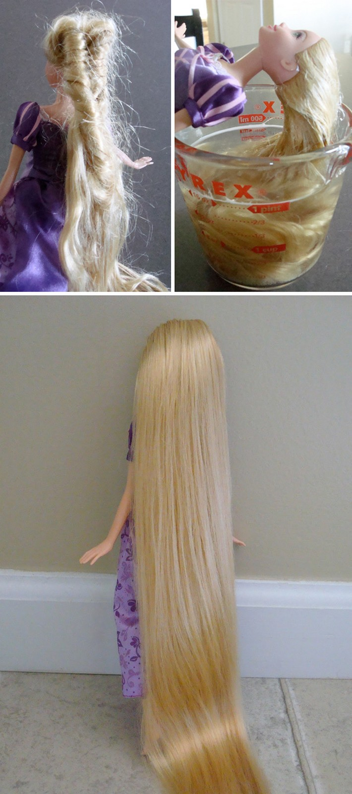 21 Best Mom Hacks - Detangle doll's hair with hot water, shampoo, and conditioner.