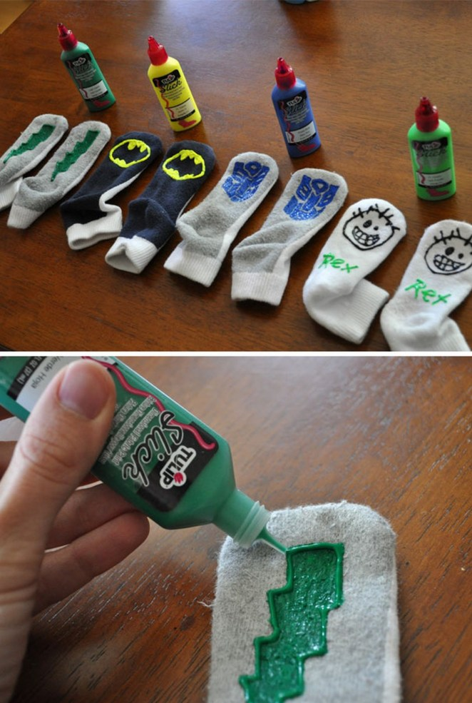 21 Best Mom Hacks - Let kids use fabric paint to create custom gripper socks to prevent falls on slippery floors.