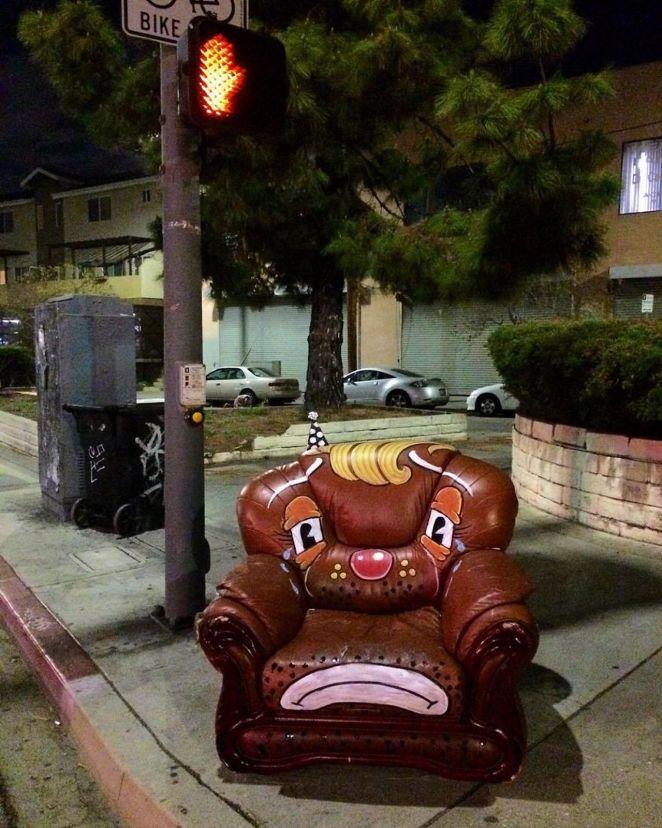 Sad chair with yellow hair.